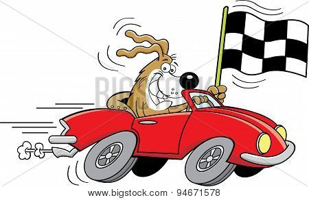 Cartoon dog in a car waving a checkered flag.