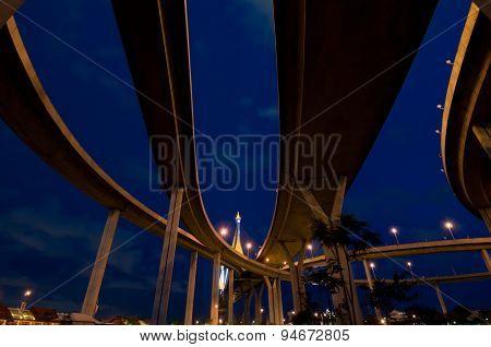Crossing highway bridge