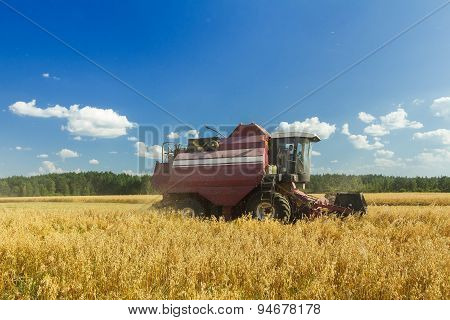Combine machine with reel and the cutter bar harvesting oats on farm field