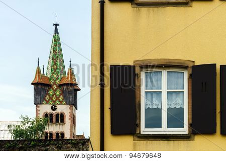 Big Pvc Window With Decoration Elements In Old French House