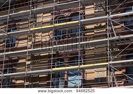 building facade with scaffolding