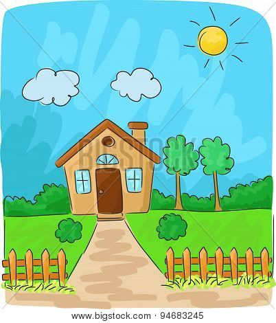 Cartoon Beautiful view of the countryside