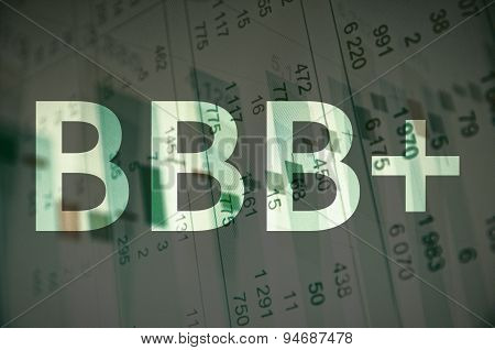 """Inscription """"BBB+"""" on a PC screen. Financial data on background. poster"""