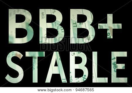 """Inscription """"BBB+ Stable"""" on a PC screen. Financial data on background. poster"""