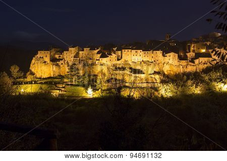 Pitigliano City On The Cliff In Summer, Italy