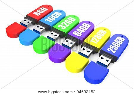 Set Of Multicolored Usb Flash Drive Ss 3.0 8,16, 32, 64, 128, 256 Gb
