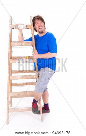 Smiling Man Holding A Ladder