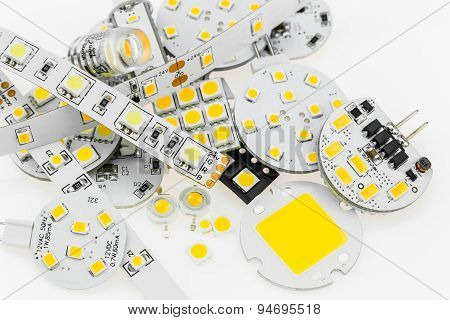 Several G4 Led Bulbs With Different Electronics And Led Strips And Various Size And Power Smd Chips