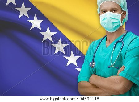 Surgeon with flag on background - Bosnia and Herzegovina poster