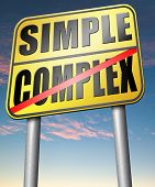simple or complex simplicity and simplifying easy versus complicated or difficult road sign arrow poster