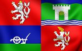 3D Flag of the Usti nad Labem Region Czech Republic. Close Up. poster