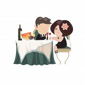 Young adult couple drinking red wine after romantic dinner together in elegant restaurant. Vector isolated illustration poster