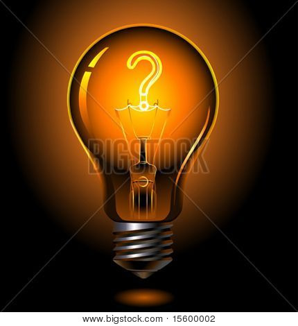 vector illustration of lightbulb , question concept