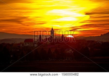 Sveti Petar Orehovec village at sunset Prigorje region of Croatia
