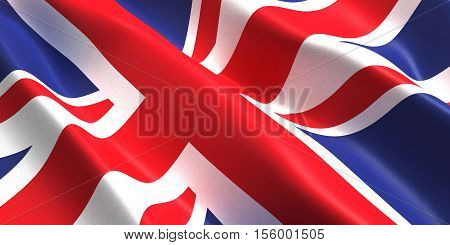 the flag of the United Kingdom flutters in the wind 3D