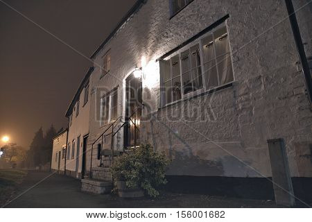 View on an entrance area of english house at night. Tarvin Cheshire UK