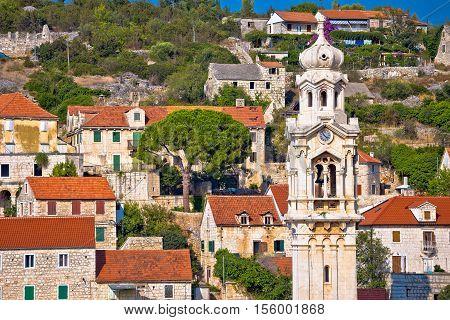 Old stone village of Lozisca on Brac island Dalmatia Croatia