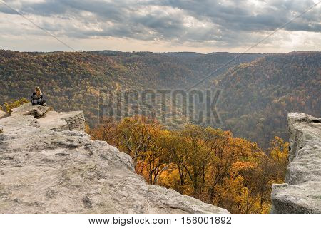 Female Hiker Overlooks Forest At Coopers Rock State Park Wv