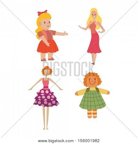 Doll girl toy vector character