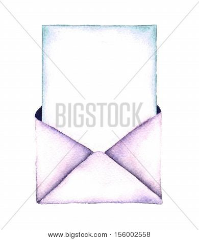 Watercolor retro envelope. Vintage mail icon isolated on white background. Hand painted design element. Watercolor illustration.