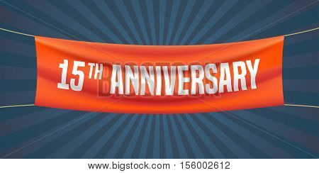 15 years anniversary vector illustration banner flyer logo icon symbol. Graphic design element with red flag for 15th anniversary birthday greeting event celebration