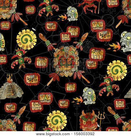 Seamless background with colorful mayan culture symbols on black. Endless graphic illustrations with vintage adventures design