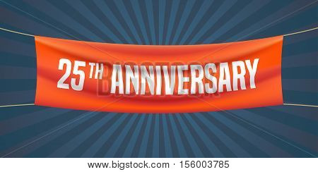 25 years anniversary vector illustration banner flyer logo icon symbol. Graphic design element with red flag for 25th anniversary birthday greeting event celebration