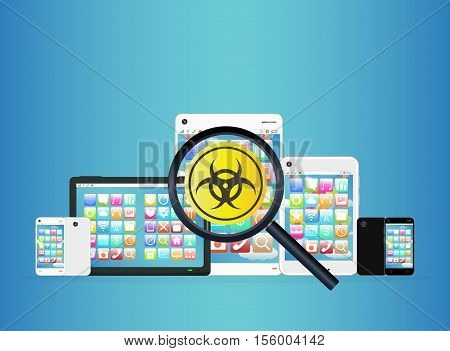 a smartphone and tablet detected virus vector