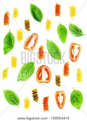 Italian Food Concept Fusilli Pasta With Tomato Sliced And Sweet Basil Leaves Isolate On White Backgr