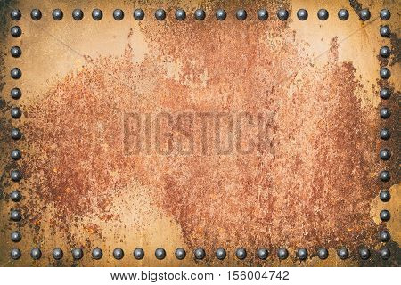 old metal iron rust background with rivet.