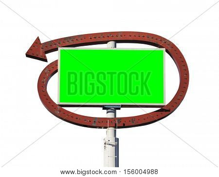 Vintage arrow sign with chroma key green insert isolated on white.