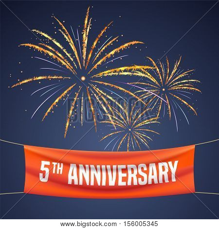 5 years anniversary vector illustration banner flyer logo icon symbol invitation. Graphic design element with fireworks for 5th anniversary birthday greeting event celebration