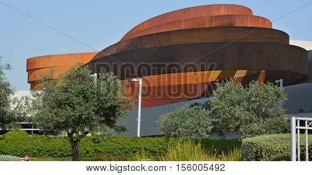 TEL AVIV ISRAEL 06 11 16: Design Museum Holon is museum in Israel. The building of the museum was planned and designed by Israeli architect and industrial designer Ron Arad an Bruno Asa.