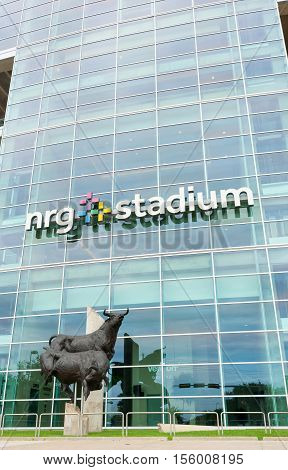 Houston, USA - August 15, 2016: Bull statue outside vertical image NRG Stadium home of National Football League's Houston Texans, Houston Livestock Show and Rodeo
