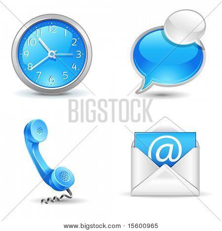 Office-pictogrammen - klok, hoorn, mail, chat