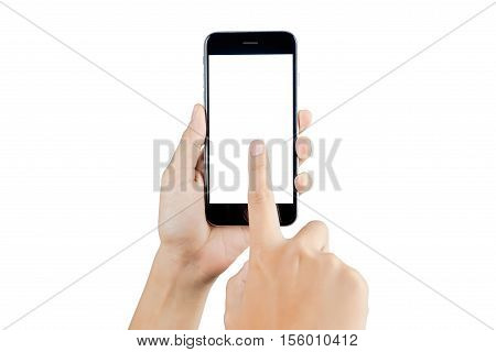 Hand holding smart phone blank screen. Woman hand using smart phone isolated on white background. Smart phone white screen.