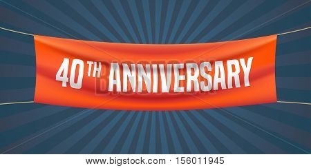 40 years anniversary vector illustration banner flyer logo icon symbol. Graphic design element with red flag for 40th anniversary birthday greeting event celebration