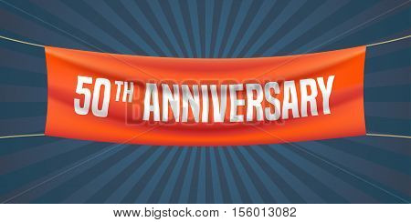 50 years anniversary vector illustration, banner, flyer, logo, icon, symbol. Graphic design element with red flag for 50th anniversary