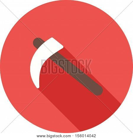 Scythe, harvesting, wheat icon vector image. Can also be used for farm. Suitable for mobile apps, web apps and print media.