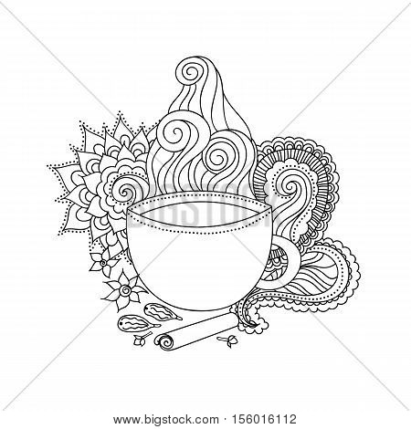 Black and white hand drawn illustration. Cup of Indian masala tea and spices flavoring ethnic pattern. illustration