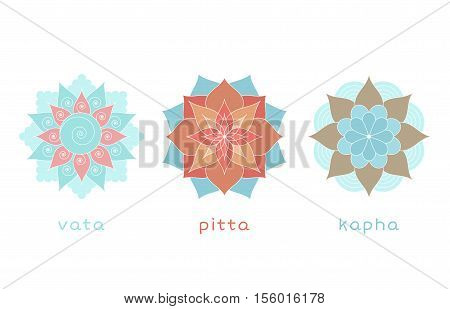Ayurveda three doshas icons mandalas. Vata pitta and kapha doshas. Ayurvedic body types. illustration