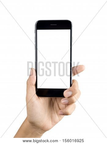 Hand Holding Smart Phone Blank Screen. Woman Hand Using Smart Phone Isolated On White Background. Sm