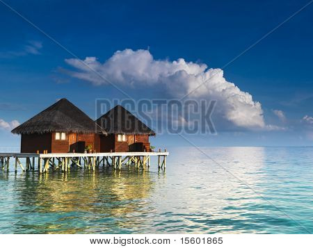Water villas at tropical resort