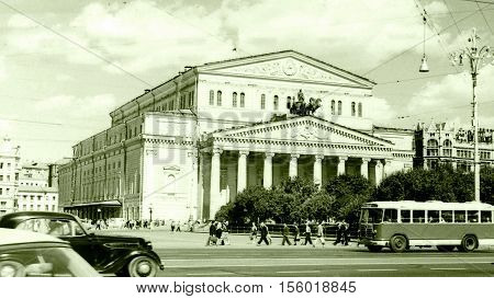 Moscow Russia - July 1962: View of Bolshoi Theatre.
