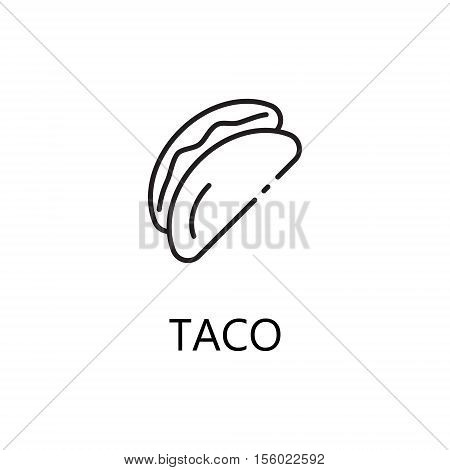 Taco line icon. Single high quality symbol of fast food for web design or mobile app. Thin line signs of taco for design logo, visit card, etc. Outline pictogram of taco.