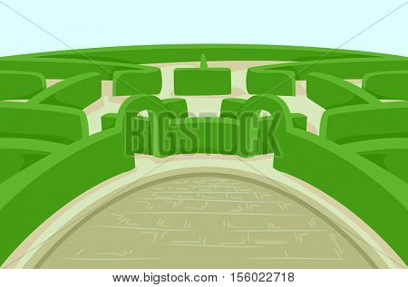 Illustration Featuring a Green Garden Hedge Designed Like a Complicated Maze