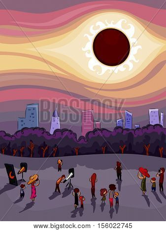 Illustration of a Crowd of People Gathered Around to Watch the Solar Eclipse Together