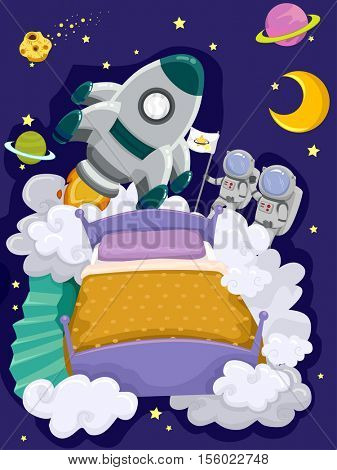 Whimsical Illustration Featuring a Bed with a Rocket Ship and a Pair of Astronauts Above It