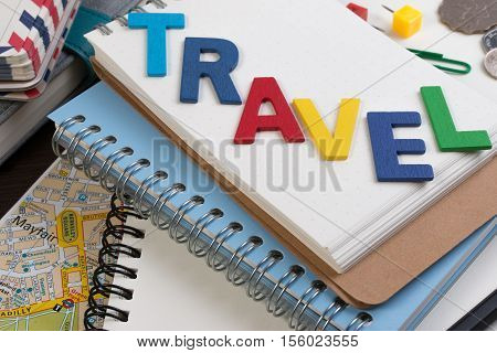 Travel Planning With Travel Word Alphabet. Template With Planning Items On Traveler Workplace. Plann