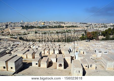 JERUSALEM ISRAEL 23 10 16: Jewish Cemetery on the Mount of Olives, including the Silwan necropolis is the most ancient cemetery in Jerusalem. Burial on the Mount of Olives started some 3,000 years ago